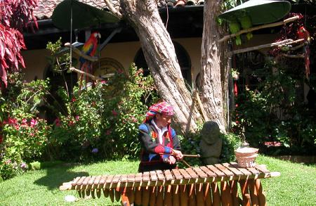 グアテマラの伝統的な楽器、マリンバです。民族衣装を着ている男性が演奏中